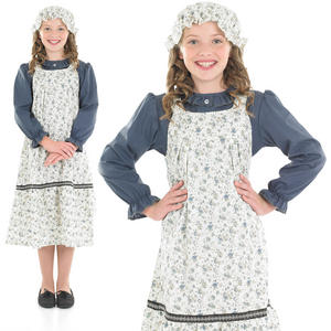 Childrens Deluxe Victorian School Girl Fancy Dress Costume Kids Outfit 6-12 Yrs