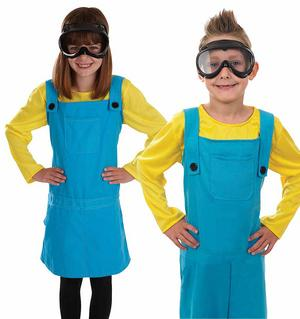 Childrens Yellow & Blue Dungarees Warehouse Worker Fancy Dress Outfit 4-12 Yrs