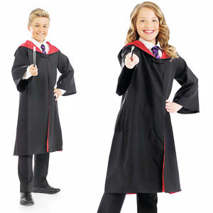 Childrens Black Wizard Fancy Dress Costume With Wand Halloween Outfit 4-12 Yrs