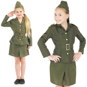 Childrens Ww2 Army Girl Fancy Dress Costume 40S World War 2 Kids Outfit 4-12 Yrs