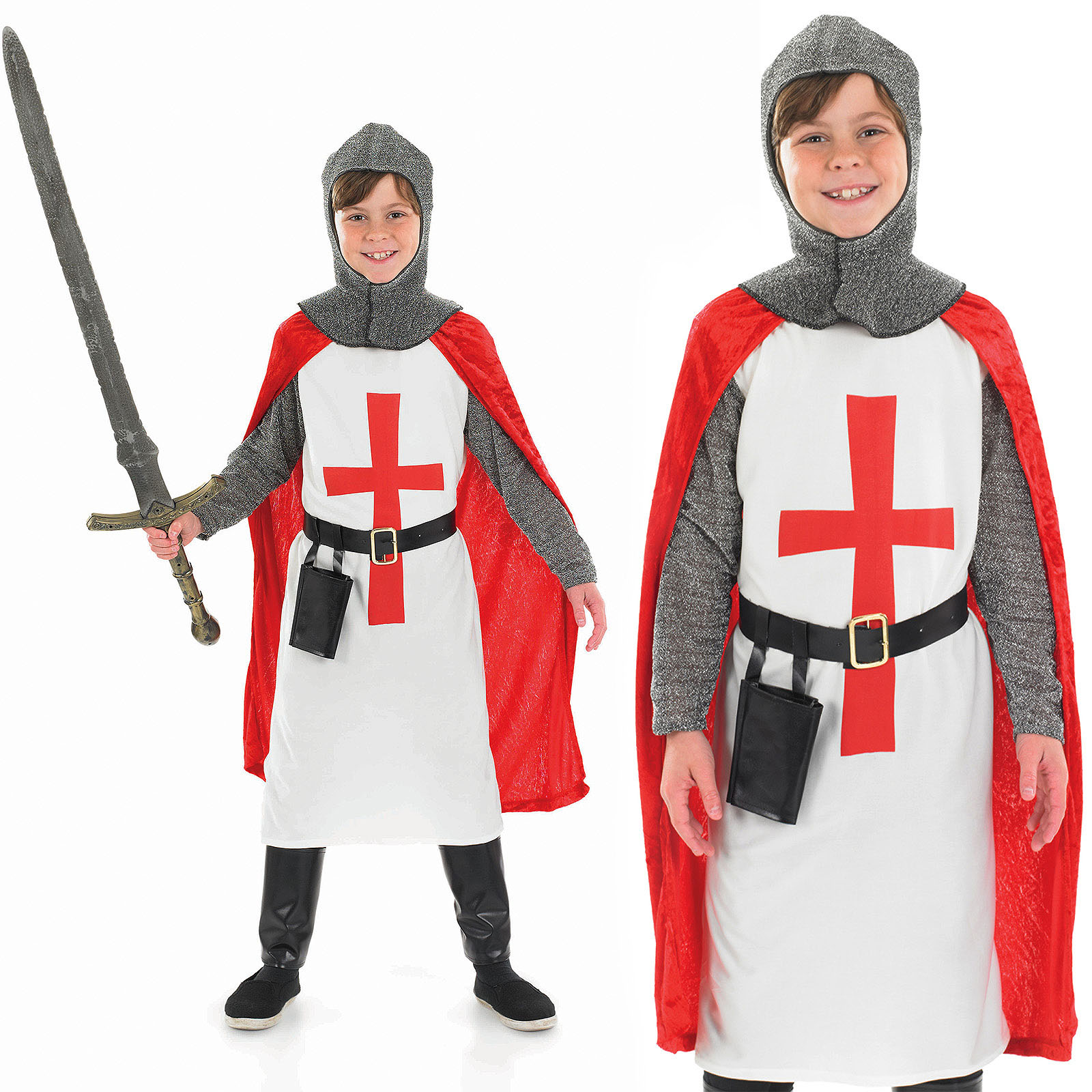 Childrens Crusader Knight Boy Fancy Dress Costume Medieval Kids Outfit 4-12 Yrs  sc 1 st  Fancy Dress 365 & Childrens Crusader Knight Boy Fancy Dress Costume Medieval Kids ...