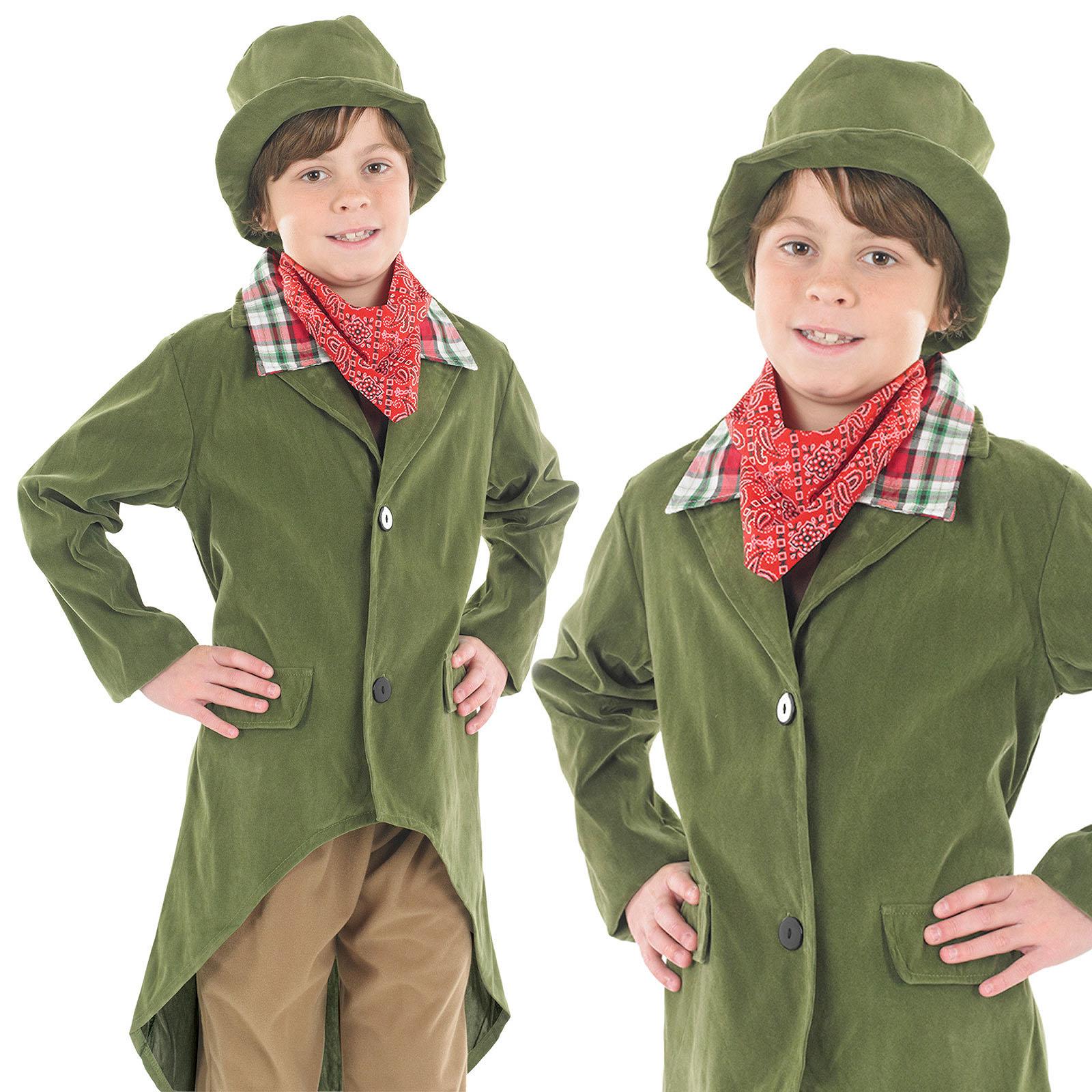 Childrens Dickensian Boy Fancy Dress Costume Artful Dodger Victorian 4-12 Yrs