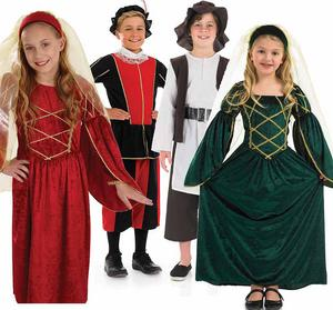 Childrens Tudor Fancy Dress Costumes Book Week Outfit Kids Medieval 4-12 Yrs