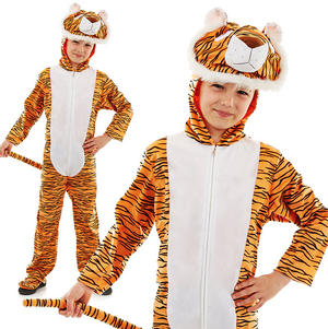 Childrens All In 1 Tiger Fancy Dress Costume Jungle Book Animal Outfit 4-12 Yrs