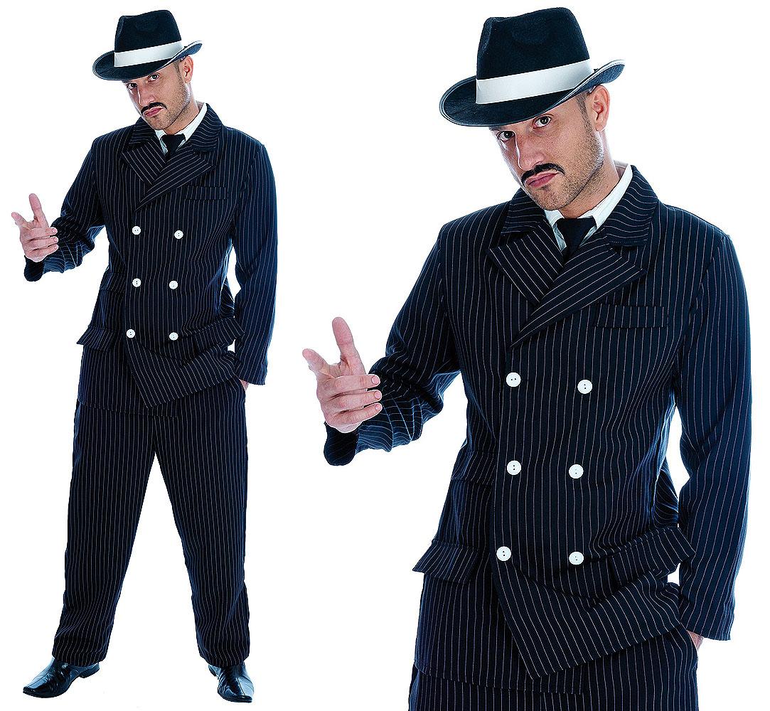 Mens Black Pinstripe Suit Gangster Fancy Dress Costume Al Capone 20s Outfit M-XL