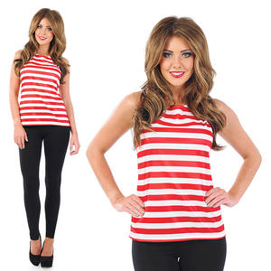 Ladies Red & White Striped Vest Top Fancy Dress Costume Outfit UK 8-30