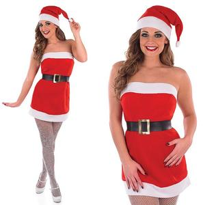 Ladies Christmas Fancy Dress Costume Red Dress & Hat Mrs Claus Outfit UK 8-30