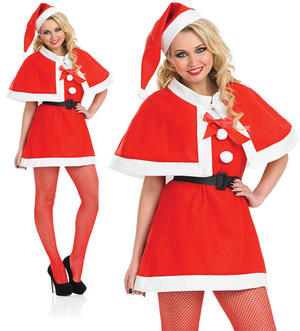 Ladies Christmas Fancy Dress Costume Red Cape Sexy Mrs Claus Outfit UK 8-30