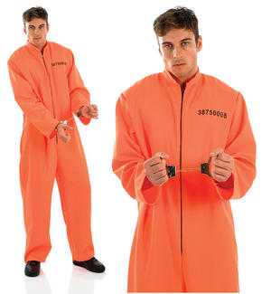 Mens Orange Jumpsuit Prisoner Fancy Dress Costume Convict Halloween Outfit M-XL