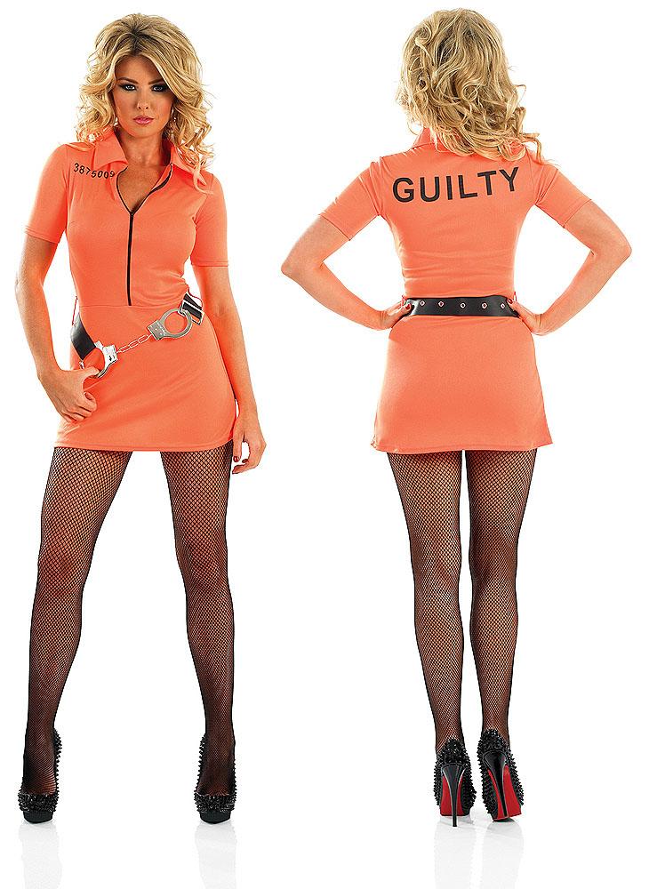 Ladies Sexy Prisoner Girl Fancy Dress Costume Orange ...