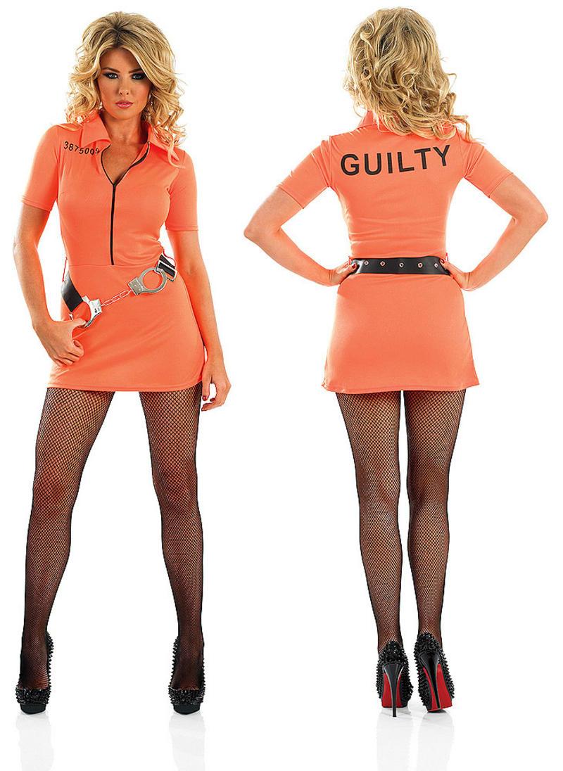 1  sc 1 st  Fancy Dress 365 & Ladies Sexy Prisoner Girl Fancy Dress Costume Orange Convict Hen ...