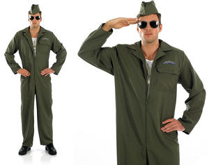 Mens Aviation Pilot Jumpsuit Fancy Dress Air Force Uniform Costume Outfit M-XL