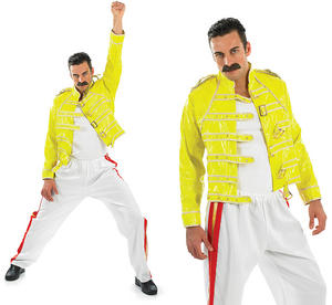 Mens 80S Rock Legend Fancy Dress Costume Outfit Freddie Mercury Stag Do M-XL