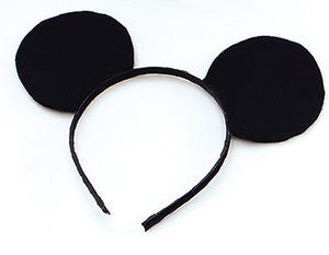 Black Felt Mickey Mouse Ears On Headband Disney Character Animal Fancy Dress