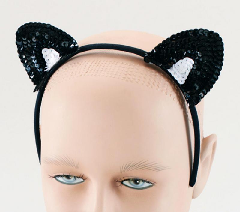 Black Sequin Cat Ears On Headband Cat Woman Halloween Sexy Fancy Dress