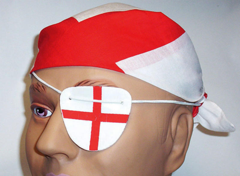 St Georges Day Fancy Dress Bandana & Eye Patch England Cross Red & White