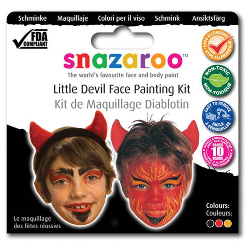 Snazaroo Red Devil Face Paint Make Up Set Demon Satan Halloween Fancy Dress