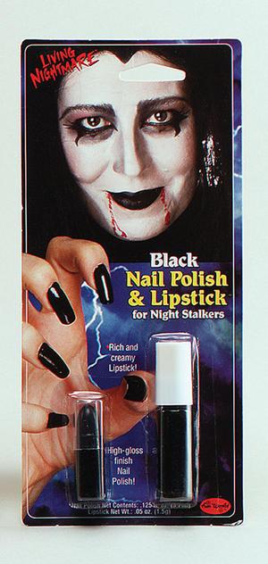 Black Nail Polish & Lipstick Witch Morticia Adams Cruella Halloween Fancy Dress