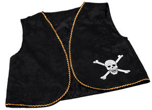 Black Pirates Waistcoat Dstressed Caribbean Jack Sparrow Captain Fancy Dress