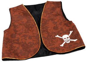 Brown Pirates Waistcoat Dstressed Caribbean Jack Sparrow Captain Fancy Dress