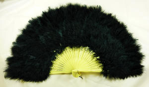 Black Feather Fan French Maid Moulin Rouge Victorian Style Fancy Dress