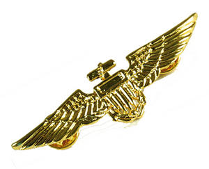 Gold Aviator Metal Pin Pilot Captain Badge Wings Military Captains Fancy Dress