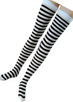 Black & White Striped Stockings Beetle Juice Beetlejuice Halloween Fancy Dress