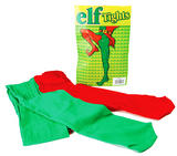 Green And Red Tights Christmas Elf Circus Clown Joker Jester Fancy Dress
