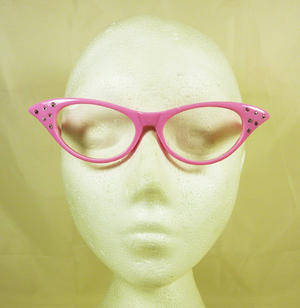 Bright Pink Nerd Secretary Disco Style Glasses 50's Fancy Dress