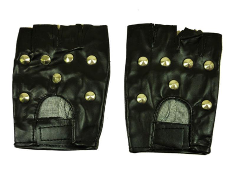 Black Stud Gloves Punk Goth Studded Biker Roker Fancy Dress