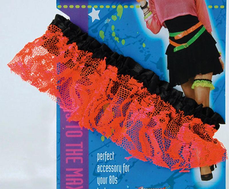 Neon Orange Lace Garter Nu Rave Wedding Night Disco Fancy Dress