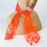 Neon Orange Lace Scarf Nu Rave 80's Disco Fancy Dress