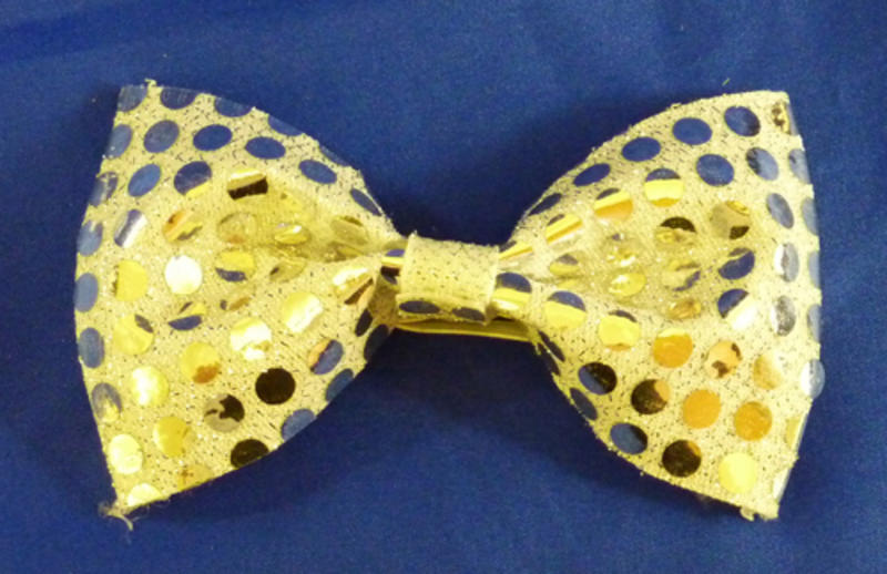 Silver Sequin Bow Tie Clown Glamour Fancy Dress Accessory