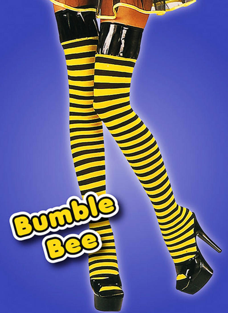 Yellow & Black Stripe Stockings Wasp Bumble Bee Fancy Dress