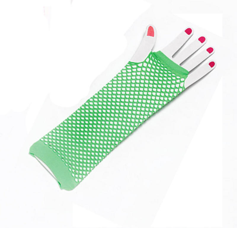 Ladies Green Fishnet Fingerless Gloves Festival Punk Nu Rave Fame Fancy Dress