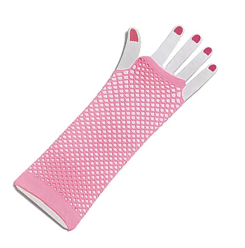 Ladies Pink Fishnet Fingerless Gloves Festival Punk Nu Rave Fame Fancy Dress
