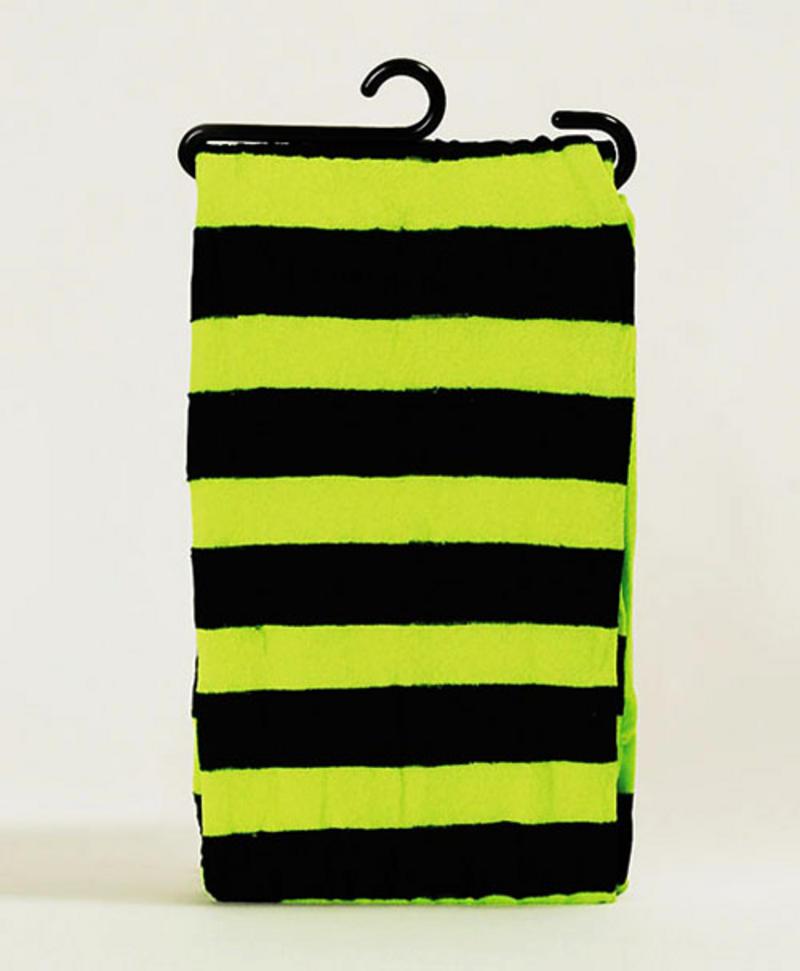 Neon Green & Black Striped Tights Nu Rave Festival Halloween Fancy Dress