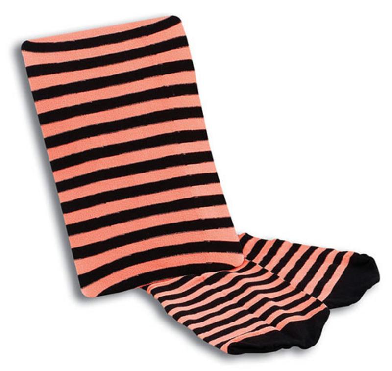 Neon Orange Nu Rave Striped Socks Festival Fancy Dress