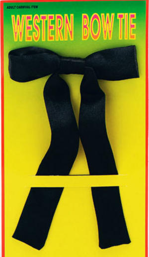 Black Cowboy Bow Neck Tie Sheriff Western Fancy Dress