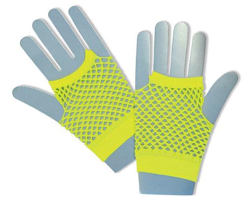 Short Neon Yellow Fishnet Gloves Fame Nu Rave Festival 80'S Disco Fancy Dress