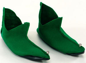 Green Felt Shoes With Bells Peter Pan Fancy Dress Elf Pixie Santa