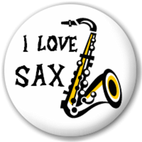Small 25mm Lapel Pin Button Badge Novelty I Love Sax