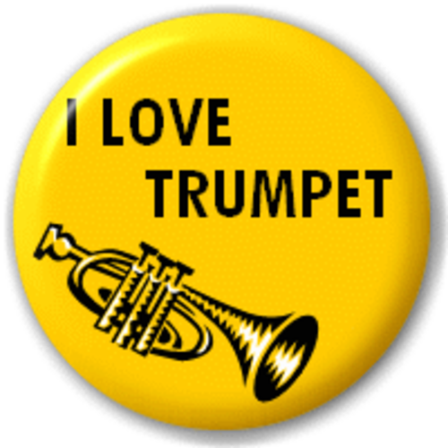 Small 25mm Lapel Pin Button Badge Novelty I Love Trumpet