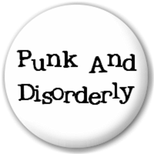 Small 25mm Lapel Pin Button Badge Novelty Punk & Disorderly