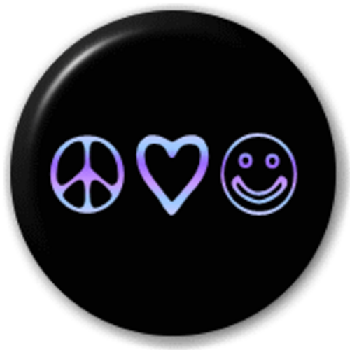 Small 25mm Lapel Pin Button Badge Novelty Peace & Love Hippy
