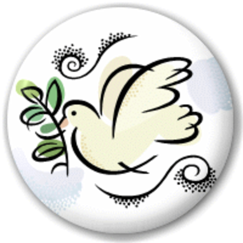 Small 25mm Lapel Pin Button Badge Novelty White Dove Peace Sign