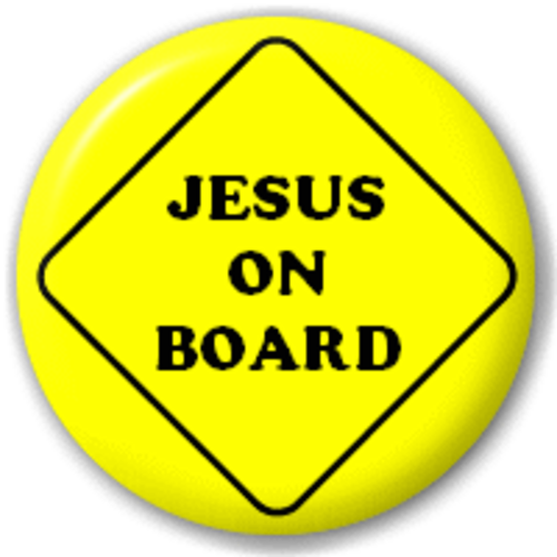 Small 25mm Lapel Pin Button Badge Novelty Jesus On Board