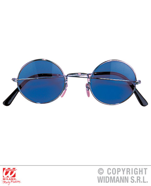 Blue Lens Round Hippy Glasses Lennon Beatles Fancy Dress Costume Accessory