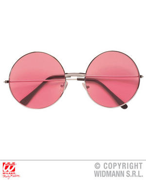 Pink Lens Round 70S Glasses Fancy Dress Costume 1970S Hippy Outfit Accessory