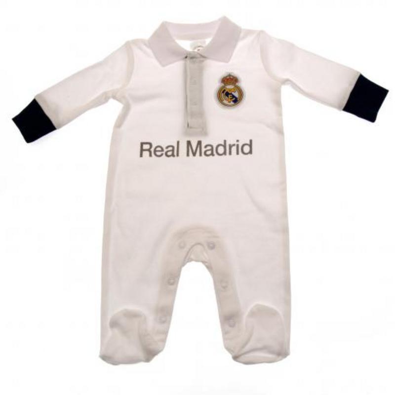 Real Madrid Baby Football Kit Sleepsuit Babygrow